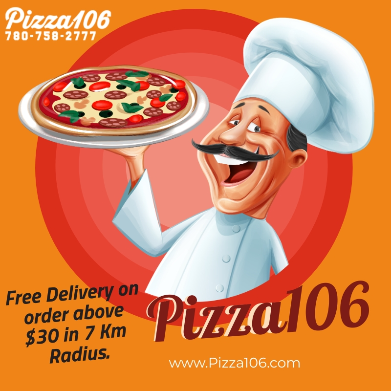 Pizza106 Best Pizza restaurant in Edmonton, know fr its quick and free delivery and best tasting pizzas.